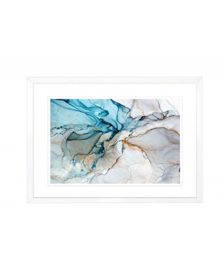 FP257 Blue Grey And Gold Framed Wall Art