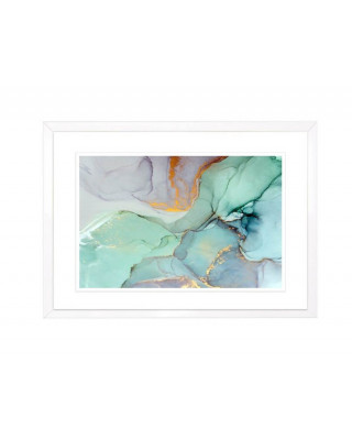 FP258 Green And Gold Framed Wall Art