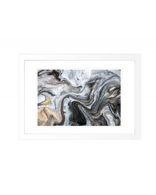 FP267 Grey And Gold Framed Wall Art