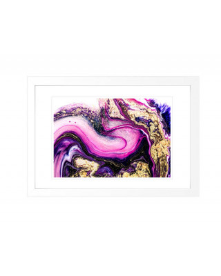 FP268 Pink And Gold Marble Framed Wall Art