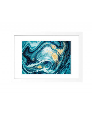 FP269 Blue And Gold Framed Wall Art