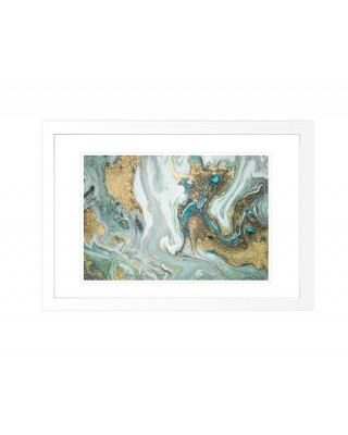 FP266 Green And Gold Marble Framed Wall