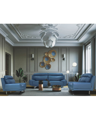 Barcelona Full Leather Lounge Suite Blue