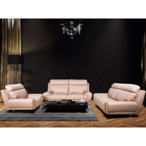 Barcelona Full Leather Lounge Suite Beige