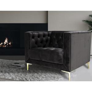 Emilia 1 Seater Velvet Couch Dark Grey