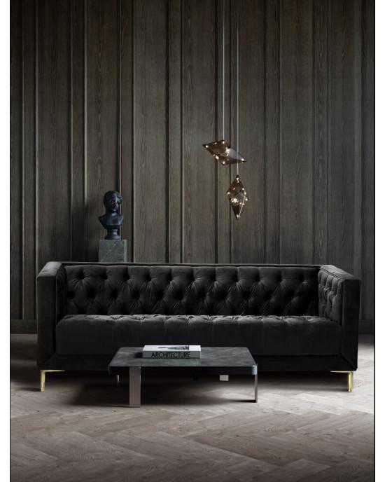 Emilia 3 Seater Velvet Couch Dark Grey
