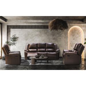 Luminos Full Genuine Leather Lounge Suite Dark Brown
