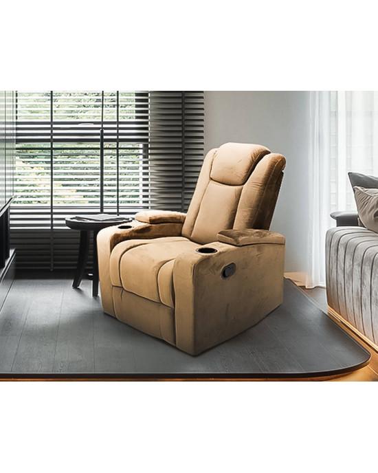 Swiss 9335 Single Recliner Chair Fabric Brown