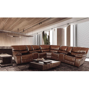 Xena Corner Recliner Lounge Suite Brown