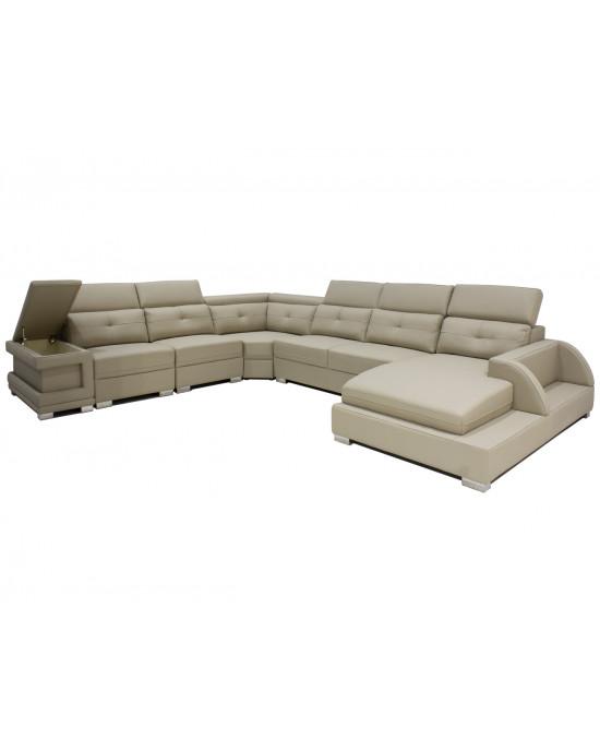 Weby Corner Lounge Suite Full Leather Camel