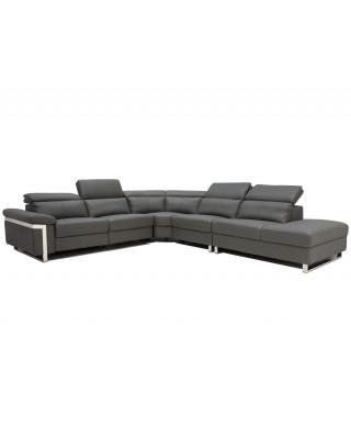 Ergo Corner Lounge Suite Full Leather Dark Grey