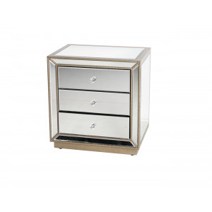 Aldo 3 Drawer Nightstand Mirror With Champagne Finish