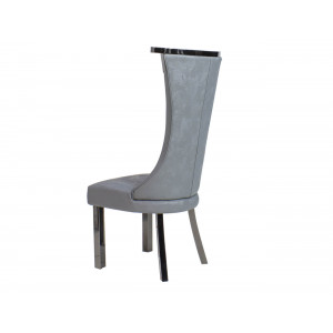Alyssa Dining Chair Dark Grey With Black Chrome