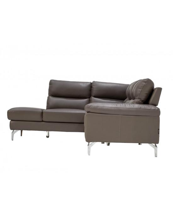 Atlanta Corner Lounge Suite Leather Uppers Dark Grey LHF