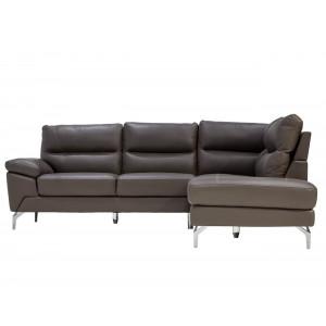 Atlanta Corner Lounge Suite Leather Uppers Dark Grey RHF