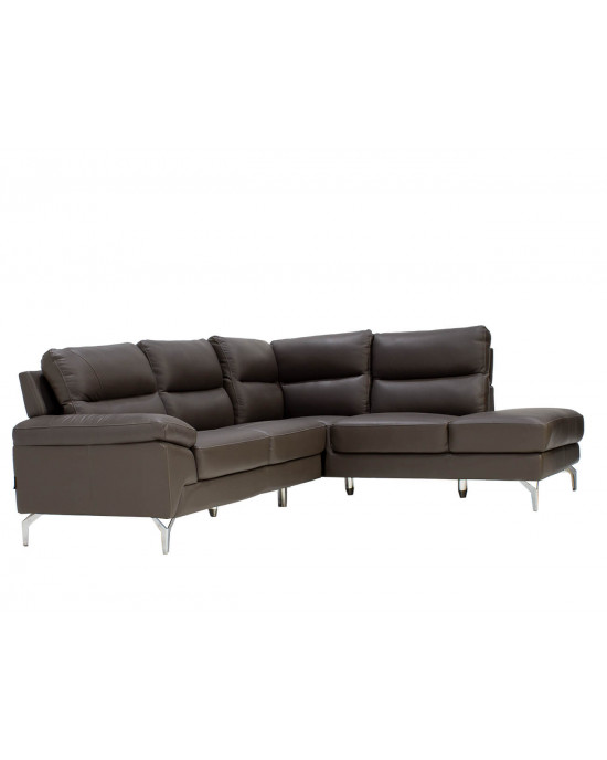 Atlanta Corner Lounge Suite Leather Uppers Dark Grey