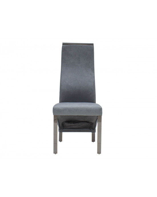 Chanel Dining Chair Dark Grey With Black Chrome