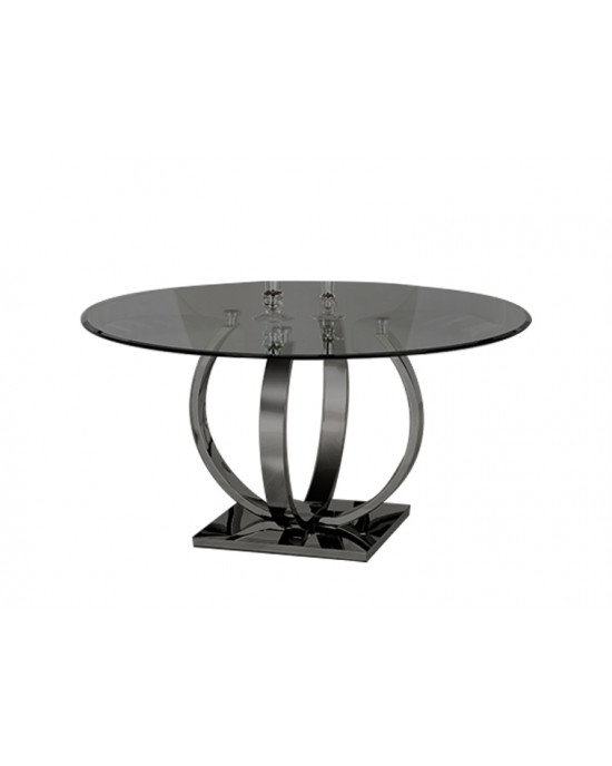 Emilo Round Dining Table Black Base With Black Glass