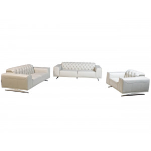 Kenzo 3 Piece Full Leather Lounge Suite Slate Grey
