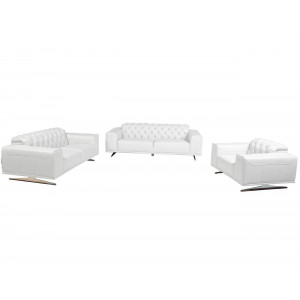 Kenzo 3 Piece Full Leather Lounge Suite white