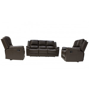 Luminos Full Genuine Leather Lounge Suite Dark Brown