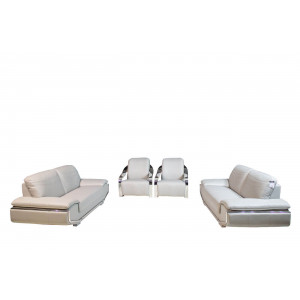 Prada 4pce Genuine Leather Lounge Suite Light Grey With Silver