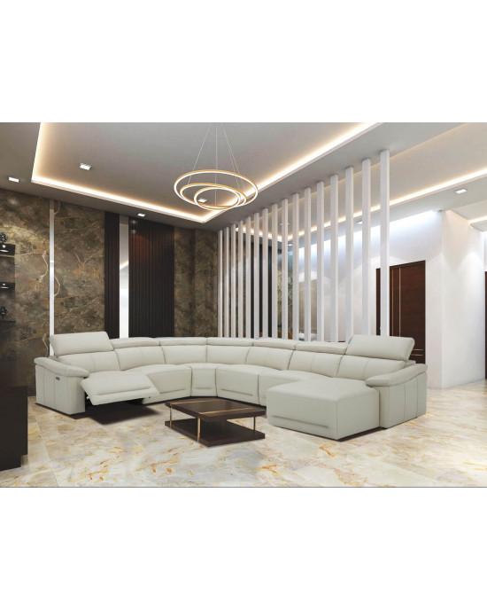 Quebec Full Genuine Leather Electric Motion Corner Suite Light Grey