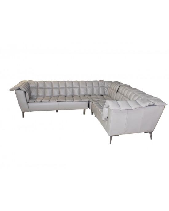 Zenotti Full Leather Corner Lounge Suite Slate Grey