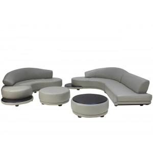 Natalia Sectional + Chaise + Ottoman + Coffee Table Full Leather Taupe