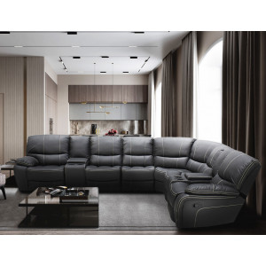 Xena Corner Recliner Lounge Suite Dark Grey