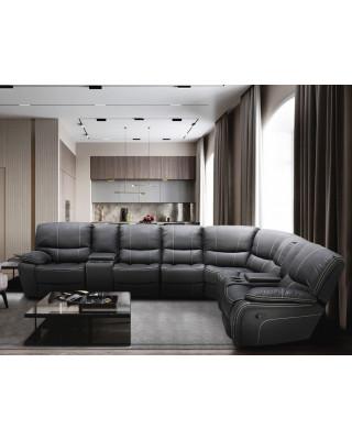 Xena Corner Recliner Lounge Suite Dark Grey