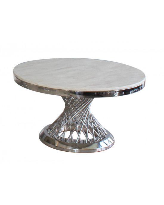 Elite SK2041T Marble Top Dining Table Silver