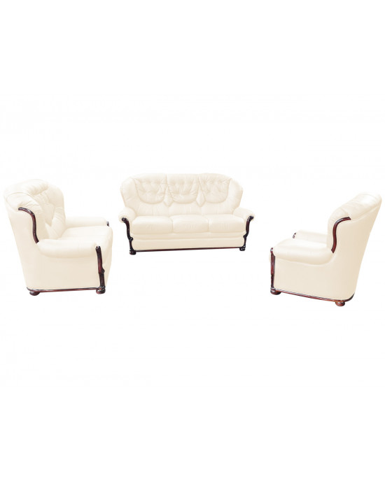 Bela 3 Piece Lounge Suite Genuine Leather Uppers Beige