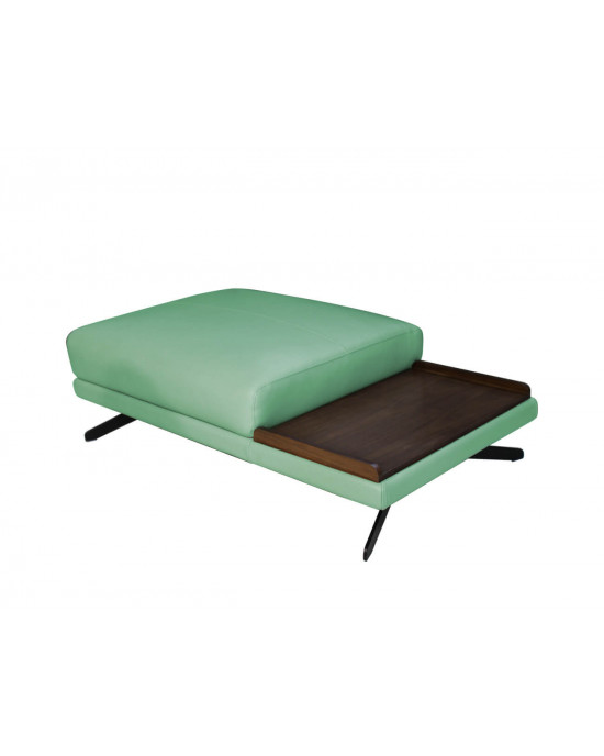 Lorenzo Genuine Leather Ottoman - Green