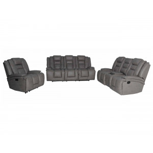 Bentley 3Pce Electric Motion Lounge Suite Nubuck Gray
