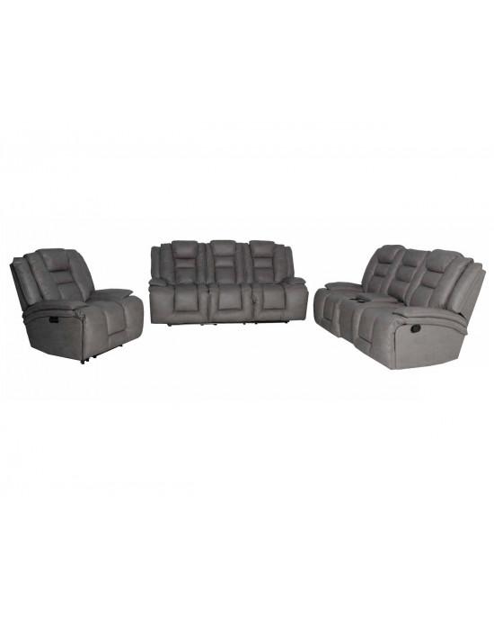 Bentley 3Pce Electric Motion Lounge Suite Nubuck Gray