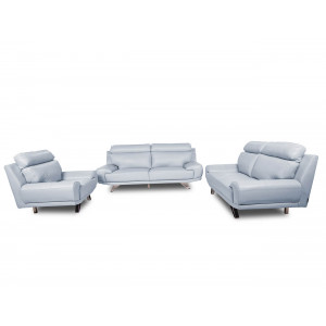 Barcelona Full Leather Lounge Suite Grey