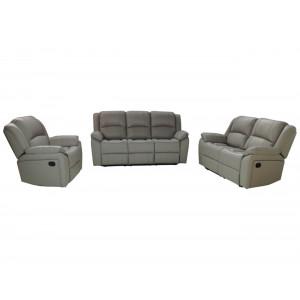 Luminos Full Genuine Leather Lounge Suite Dark Beige