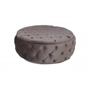 Diamond Button Round Ottoman