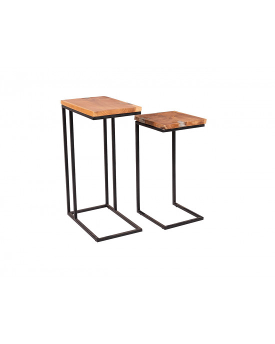 Icy Side Table Set Of 2 Natural Wood With Iron Legs J22492a3