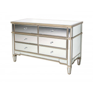Aurora 6 Draw Chest Mirror With Champagne Finish