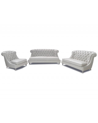 Montez  3pce Lounge Suite Full Leather Pearl White