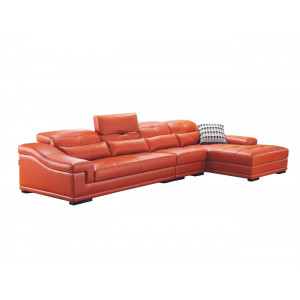Romeo Daybed Full Leather Lounge Suite Orange