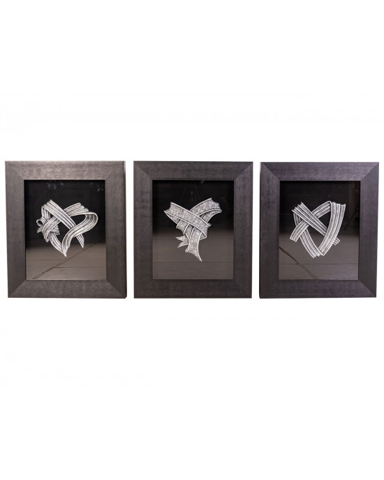 MY7363-0073/A/B/C Framed Object Art Set Of 3
