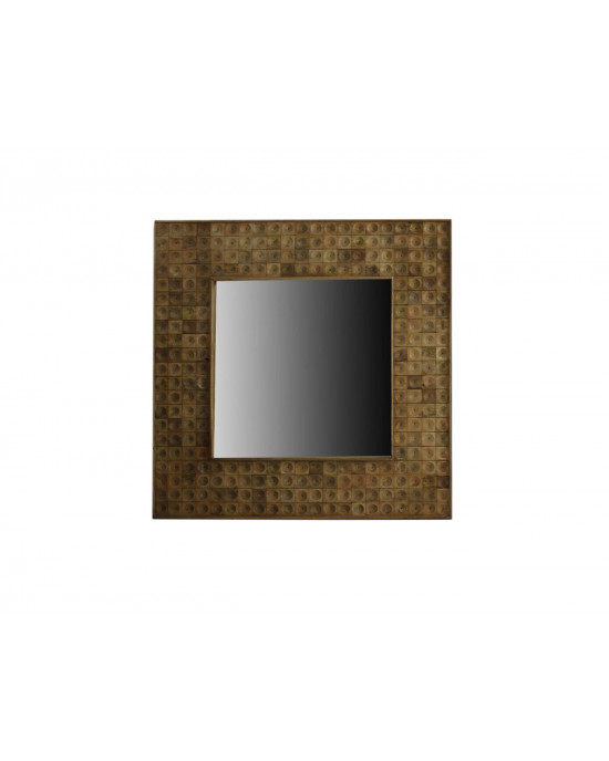 2527H Wooden Circle Carved Square Mirror