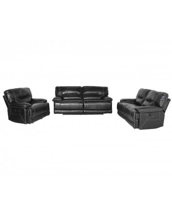 Vincenzo 3PCE Motion Lounge Suite Black
